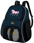 Horse Soccer Ball Backpack or Horse Theme Volleyball Practice Gear Bag Navy
