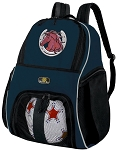 Horses Soccer Ball Backpack or Horse Lover Volleyball Practice Gear Bag Navy