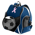 Pink Ribbon Soccer Ball Backpack