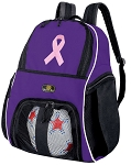 Pink Ribbon Ball Backpack Purple