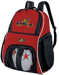 Peace Frogs Soccer Ball Backpack Bag Red