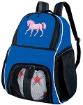 Horse Soccer Backpack or Horse Theme Volleyball Practice Bag Boys or Girls Blue