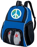 Peace Sign Soccer Backpack Blue