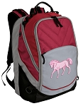 Cute Horse Deluxe Laptop Backpack Red
