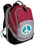Peace Sign Deluxe Laptop Backpack Red