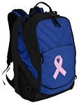 Pink Ribbon Deluxe Computer Backpack Blue