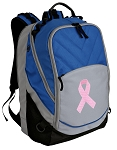 Pink Ribbon Deluxe Laptop Backpack Blue
