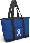 Pink Ribbon Blue Tote Bag