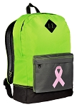 Pink Ribbon Backpack Classic Style Fashion Green