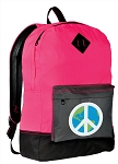 Peace Sign Backpack Classic Style HOT PINK