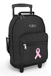Pink Ribbon Rolling Backpacks Black
