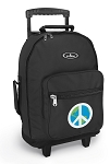 Peace Sign Rolling Backpacks Black