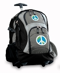 Peace Sign Rolling Backpack Black Gray