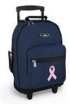 Pink Ribbon Rolling Navy Backpacks