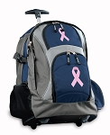Pink Ribbon Rolling Backpack Navy
