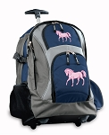 Cute Horse Rolling Backpack Navy