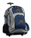 Peace Frogs Rolling Backpack Navy