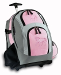 Cute Horse Rolling Backpack Pink
