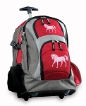 Cute Horse Rolling Backpack Red