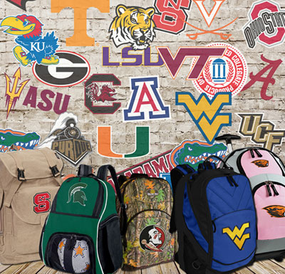 College logo gifts and backpacks