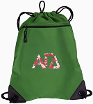 Alpha Gamma Drawstring Backpack Mesh and Microfiber