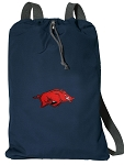 Arkansas Razorbacks Cotton Drawstring Bag Backpacks Cool Navy