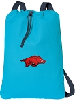Arkansas Razorbacks Cotton Drawstring Bag Backpacks Blue