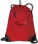 Arkansas Razorbacks Drawstring Backpack MESH & MICROFIBER Red