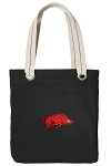 Arkansas Razorbacks Tote Bag RICH COTTON CANVAS Black