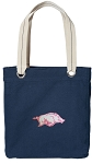 University of Arkansas Tote Bag RICH COTTON CANVAS Navy
