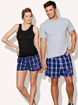 Boise State Boxer Shorts Plaid Navy