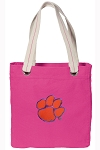 Clemson NEON PINK Cotton Tote Bag