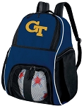 Georgia Tech Soccer Ball Backpack or GT Yellow Jackets Volleyball Practice Gear Bag Navy