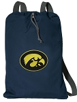 Iowa Hawkeyes Cotton Drawstring Bag Backpacks Cool Navy