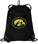University of Iowa Drawstring Backpack-MESH & MICROFIBER