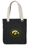 University of Iowa Tote Bag RICH COTTON CANVAS Black