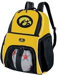 Iowa Hawkeyes Soccer Ball Backpack Bag Gold