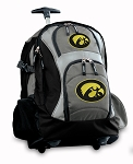 University of Iowa Rolling Backpack Black Gray