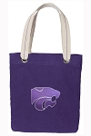 Kansas State Tote Bag RICH COTTON CANVAS Purple