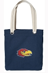 University of Kansas Tote Bag RICH COTTON CANVAS Navy