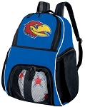 University of Kansas Soccer Backpack or KU Jayhawks Volleyball Practice Bag Boys or Girls Blue
