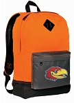 Kansas Jayhawks Backpack Classic Style Cool Orange