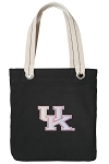 Pink UK Wildcats Logo Tote Bag RICH COTTON CANVAS Black