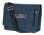 LSU Tigers Messenger Bags STYLISH WASHED COTTON CANVAS Blue