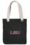 LSU Tigers Tote Bag RICH COTTON CANVAS Black