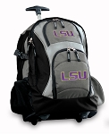 LSU Tigers Rolling Backpack Black Gray