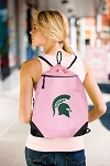 Michigan State Drawstring Bag Mesh and Microfiber Pink