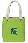 Michigan State Tote Bag RICH COTTON CANVAS Green