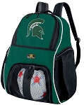 Michigan State Soccer Ball Backpack Bag Green