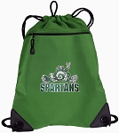 Michigan State Peace Frog Drawstring Backpack Mesh and Microfiber